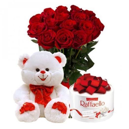 """Набор """"25 красных роз, Рафаэлло 200 гр, Медведь плюшевый 30 см"""""""