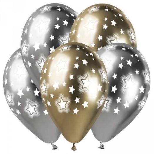 Набор хромированных шаров со звёздами 5 шт: букеты цветов на заказ Flowwow