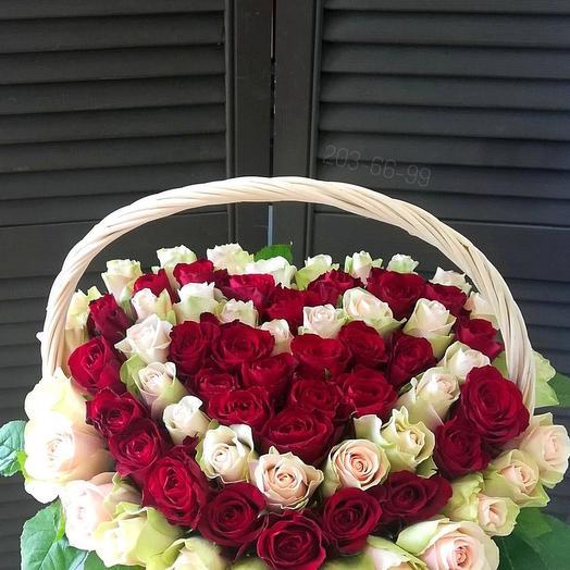 71 роза в корзине