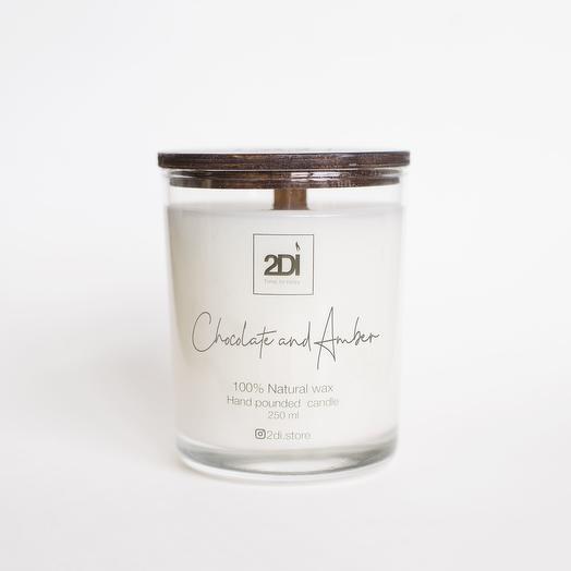 Натуральная аромасвеча ручной работы 250 мл, хлопковый фитиль -Chocolate   Amber, Шоколад и амбра