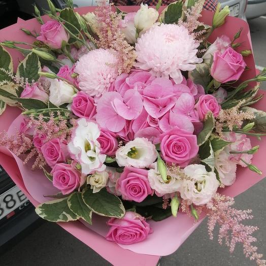 Букет розовое чудо с гортензией