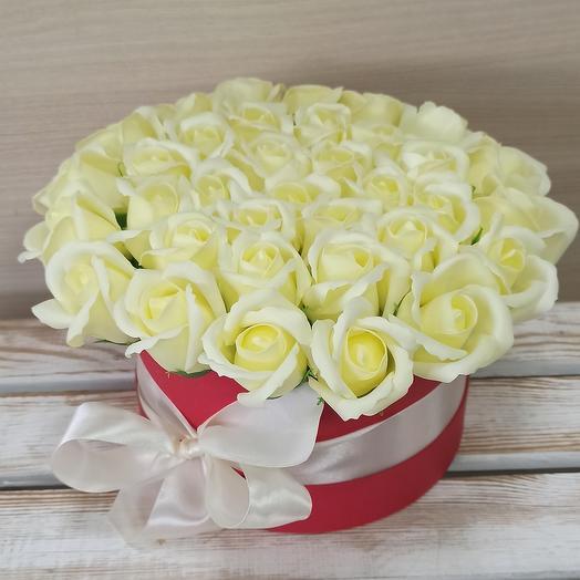 Мыльные розы белые 35 шт