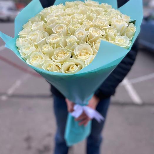 Букет из 51 белой розы - Премиум