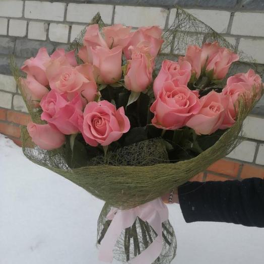 Букет «Розовые розы Светке Соколовой»