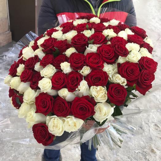 Красное - Белое 101 Роза