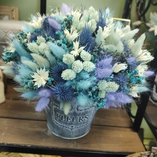 Композиция 50 оттенков синего/ сухоцветы