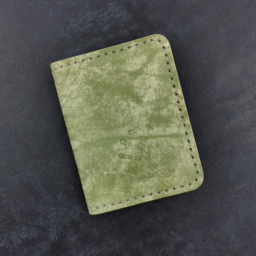 Мини кошелёк ручной работы, кардхолдер из кожи растительного дубления