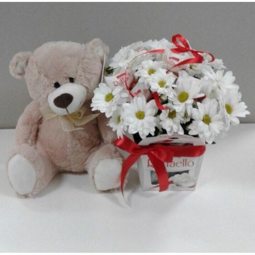 Flowers in a box with Raffaello and teddy bear