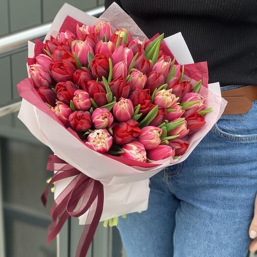 Букет Коррида из пионовидных тюльпанов