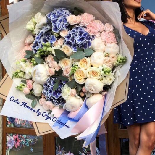 Elegant bouquet with white peonies, hydrangeas, peony roses