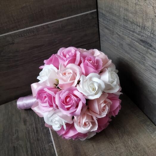 Свадебный букет цветов , розы из мыла , букет -дублер