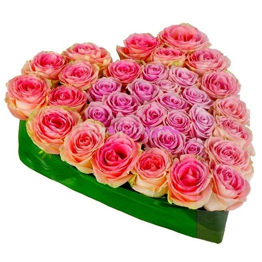 Сердце розово-сиреневое: букеты цветов на заказ Flowwow