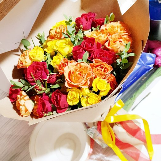 Роза кустовая микс: букеты цветов на заказ Flowwow