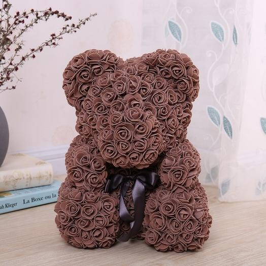 Мишка из роз 40 см, коричневый: букеты цветов на заказ Flowwow