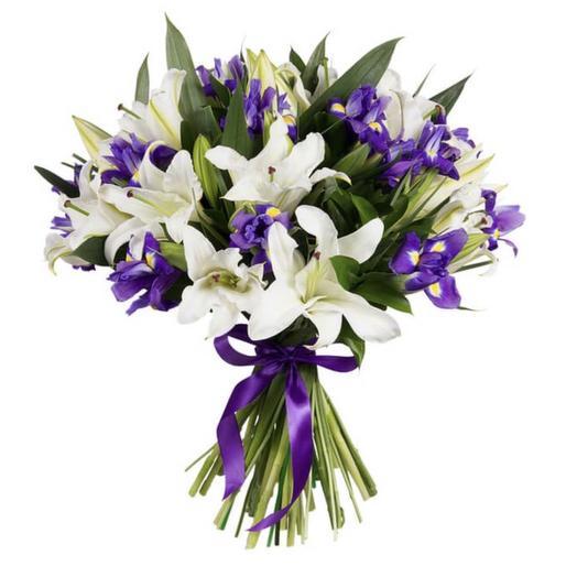 Букет белых лилий и ирисов: букеты цветов на заказ Flowwow