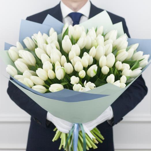 Букет из 99 голландских тюльпанов: букеты цветов на заказ Flowwow