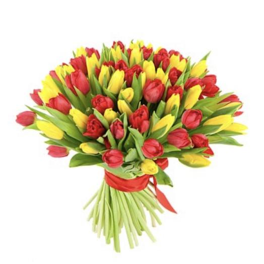 51 тюльпан солневный микс: букеты цветов на заказ Flowwow