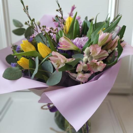 Лилово - желтая весна: букеты цветов на заказ Flowwow