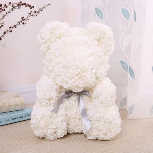 Мишка из 3D роз 25 см: букеты цветов на заказ Flowwow