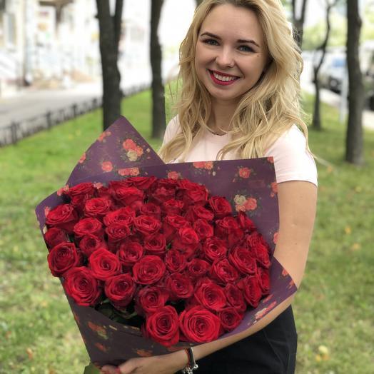 51 Красная роза 70 см: букеты цветов на заказ Flowwow