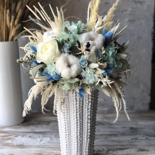 Интерьерная Композиция из стабилизированных растений и Сухоцветов: букеты цветов на заказ Flowwow