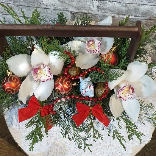 Новогодняя композиция🐭: букеты цветов на заказ Flowwow