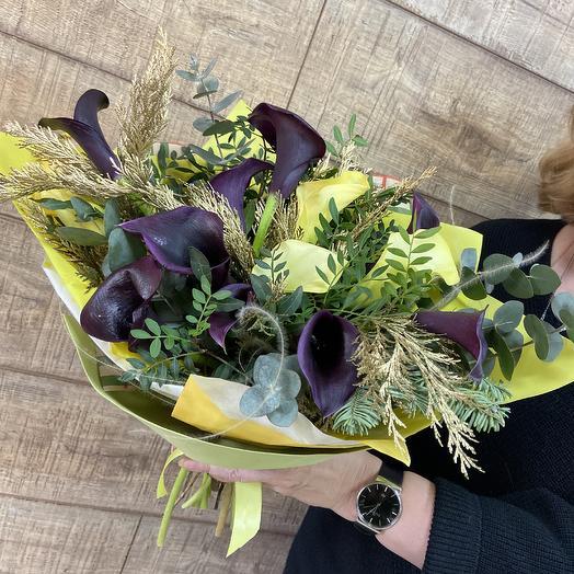 Шикарный букет из необычных калл: букеты цветов на заказ Flowwow