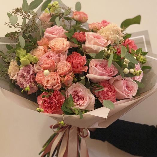 Букет с пионовидными розами и эустомой «Actually pink»: букеты цветов на заказ Flowwow