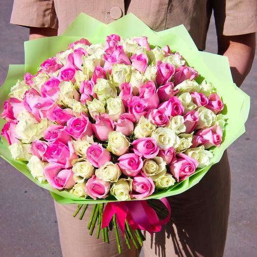 101 Роза микс, 40см: букеты цветов на заказ Flowwow