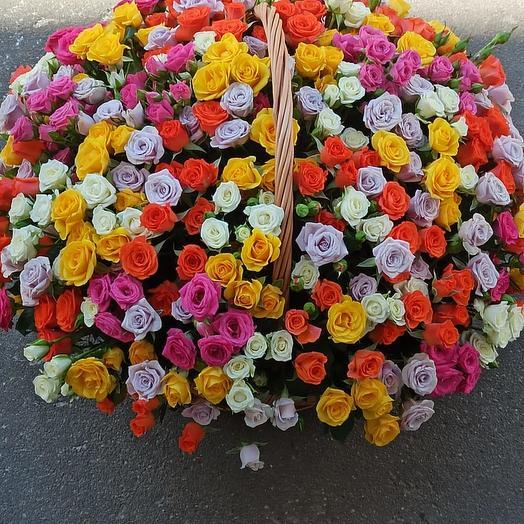 Огромная корзина кустовой розы