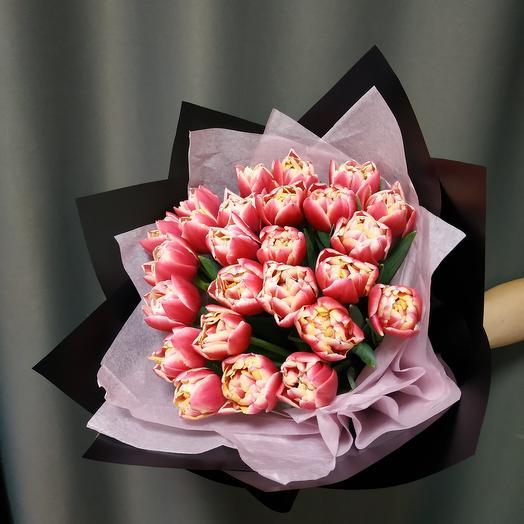 """Букет""""25 кремово-розовых пионовидных тюльпанов"""""""