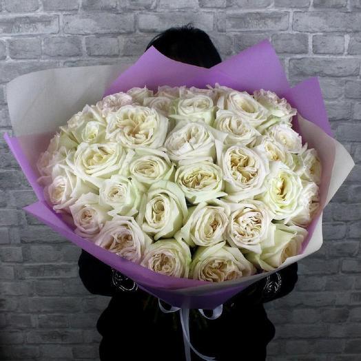 Букет из 35 ароматных роз White O hara