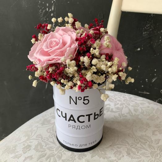 Букет стабилизированной гипсофилы розы хлопка