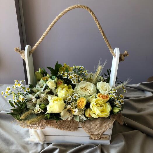 Полевые цветы в ящике