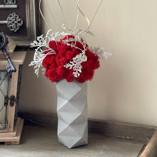 Бетонная ваза со стабилизированным мхом