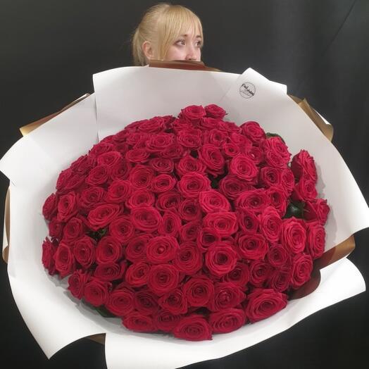 """Букет """"101 роза с крупным бутоном"""" 60 см"""
