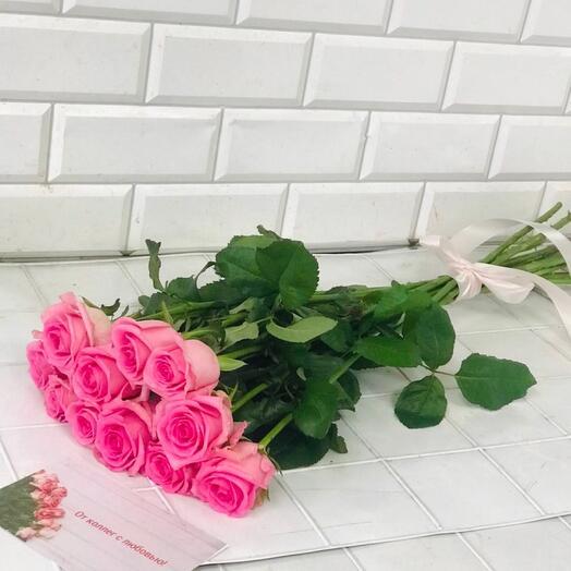 Букет из 11 розовых роз 70 см