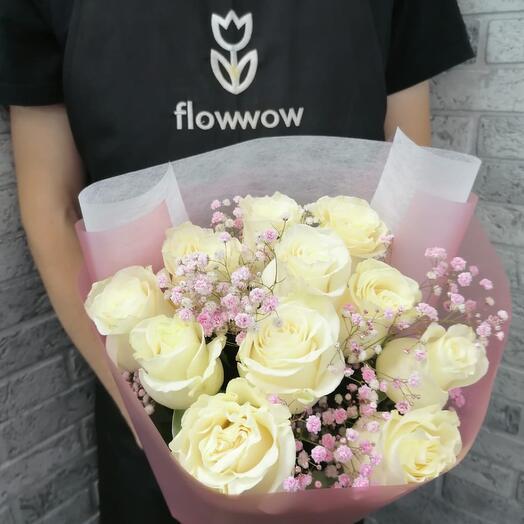 11 белых роз 40 см