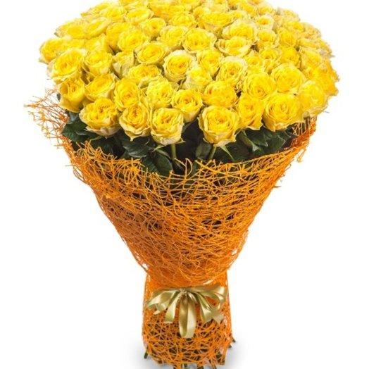 101 роза в сизали цвет роз на выбор: букеты цветов на заказ Flowwow