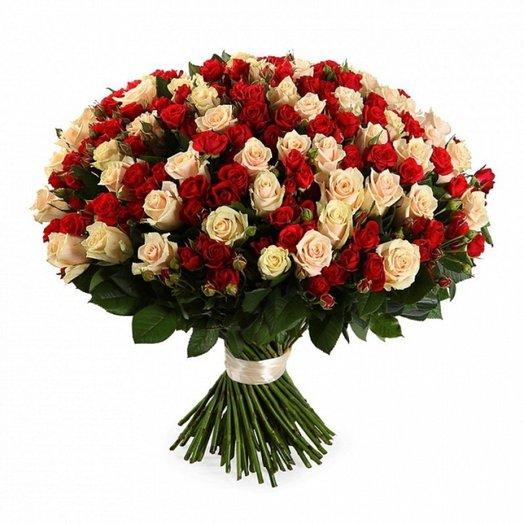 Букет из 100 разноцветных кустовых роз 50 см: букеты цветов на заказ Flowwow