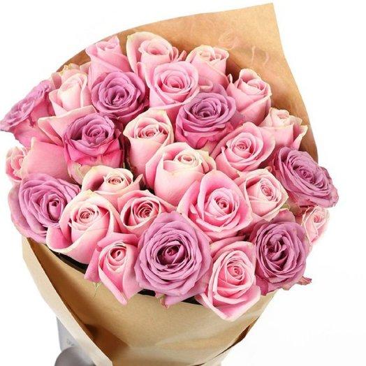 Монобукет из роз PINK  PURPLE: букеты цветов на заказ Flowwow