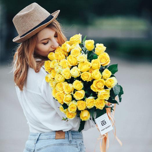 Букет из 51 желтой местной розы 50 см: букеты цветов на заказ Flowwow