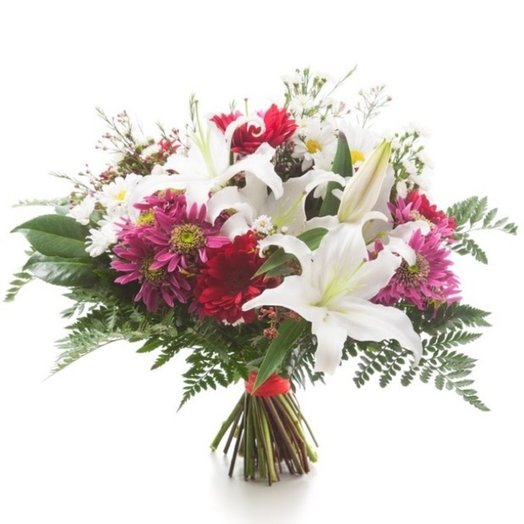 Bouquet of white lilies and germini: flowers to order Flowwow