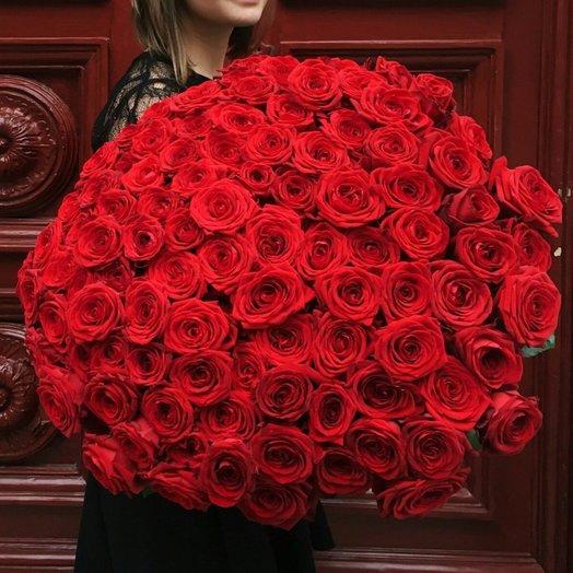 101 роза 70 см красная