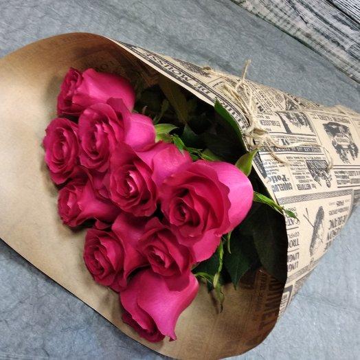9 ярких роз: букеты цветов на заказ Flowwow