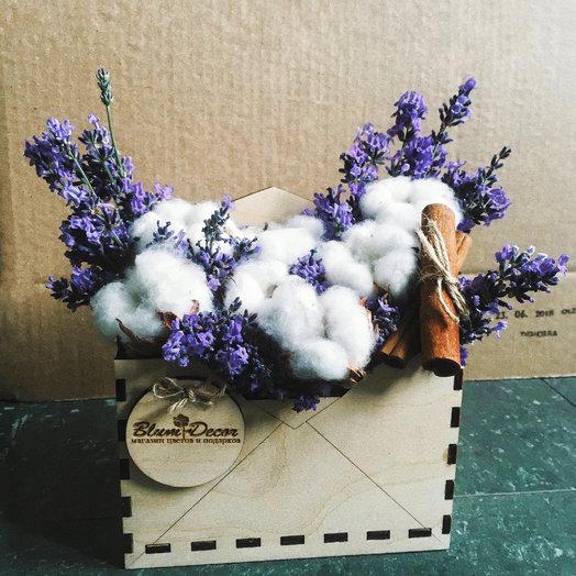 Конверт с лавандой и хлопком: букеты цветов на заказ Flowwow