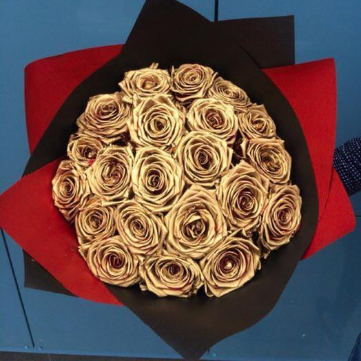 Золотые розы Фидель: букеты цветов на заказ Flowwow