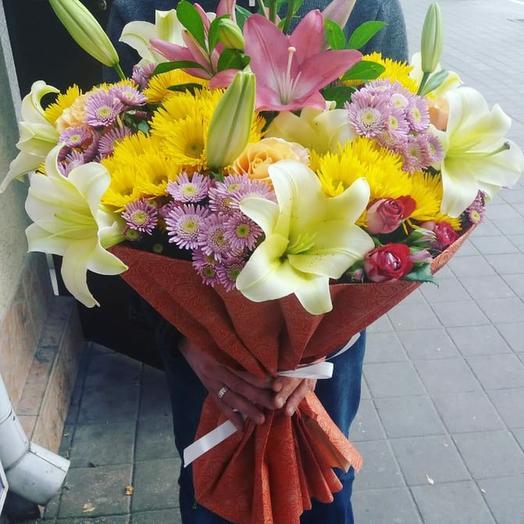 Букет микс из ярких цветов: букеты цветов на заказ Flowwow