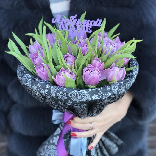 Букет из 25 тюльпанов «Тёплые чувства»: букеты цветов на заказ Flowwow