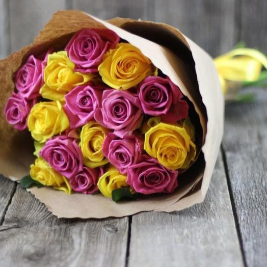 21 роза крафт микс: букеты цветов на заказ Flowwow
